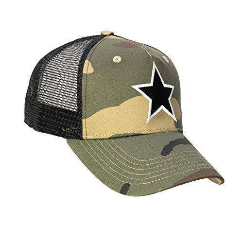Chiccheria Brand Trucker Baseball Cap – Star – Einheitsgröße | Camouflage | Mesh | Größenregulierbarer Druckverschluss | Bekannt aus GQ (Schwarz)