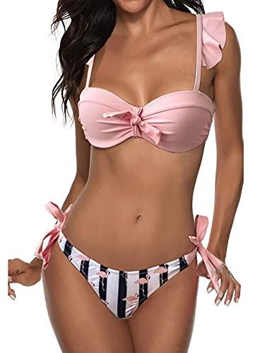 TOPLAZA Bikini Donna Stampa Fenicotteri Top Push Up con Ferretto Mutande con Lacci Laterali
