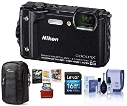 Nikon Coolpix W300 Point & Shoot Camera, Black - Bundle with 16GB SDHC Card, Camera Case, Cleaning Kit, Mac Software Package