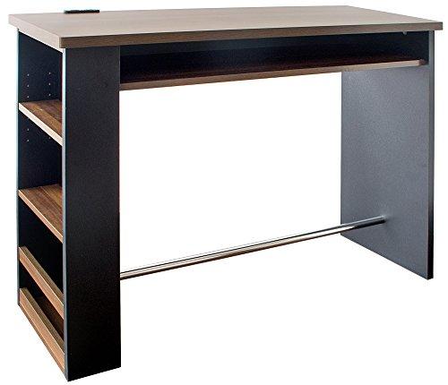 宮武製作所 カウンターテーブル Latte 幅120×奥行き39.5×高さ85cm ブラック 2口コンセント付き KNT-1200 BK