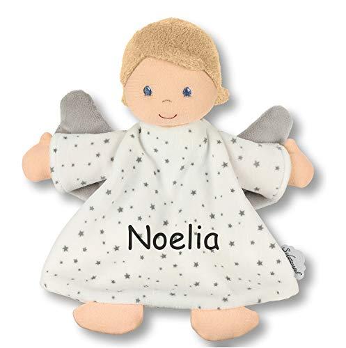 LALALO Sterntaler Kuscheltuch / Schmusetuch Bestickt mit Namen und Geburtsdatum für Baby & Kinder personalisiert (Schutzengel Schmusetuch)