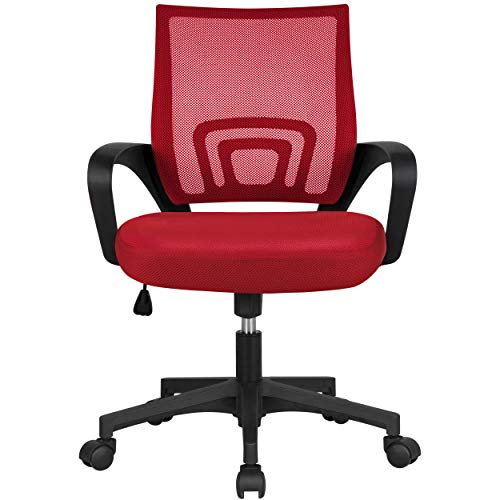 Yaheetech Ergonomic Office Desk Chair Mesh Computer Chair with Lumbar Support Armrest Executive Rolling Swivel Adjustable Mid Back Task Chair for Students Teens Adults, Red