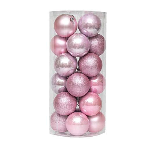 Palle di Natale Ornamenti plastica infrangibile Decorazioni dell'albero con gancio appeso palla rosa 1,5 pollici 24pcs