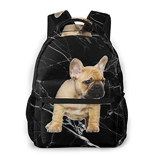 Black Backpack french bulldog Lightweight Daypacks Gym Backpacks for Teens Boys Girls