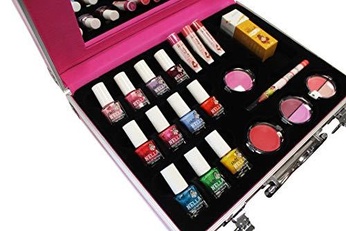 MISS NELLA - Maleta de color rosa completa – Peel Off, esmalte de uñas no tóxico, juguete de maquillaje hipoalergénico, seguro para niños