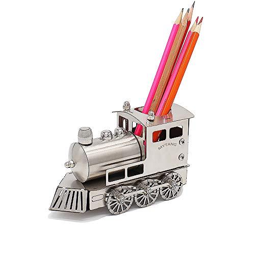 MYTANG Stainless Steel Model Train Pencil Holders Creative Office Desktop Storage Accessories Train Track Lovers Locomotive Very Cool Gift idea (Locomotive)