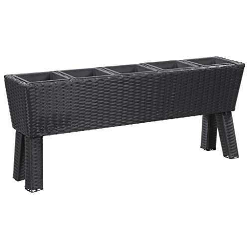 vidaXL Garden Raised Bed with Legs and 5 Pots 46.4'x9.8'x19.7' Poly Rattan Black