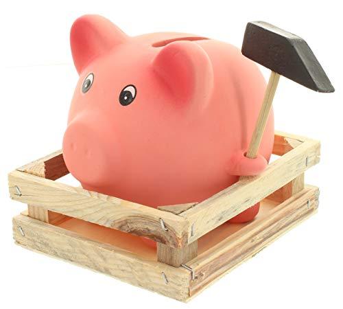 MIK Funshopping spaarpot spaarvarken met hamer op houten dienblad 9,5 x 9 x 7,5 cm