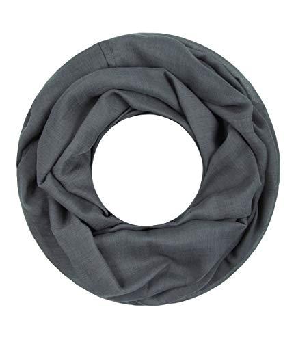 Majea Loop Cary Basic Schal Tuch Damen-schal Schlauchschal Rundschal Halstücher uni unifarben Loopschal einfarbig (dunkelgrau 1)