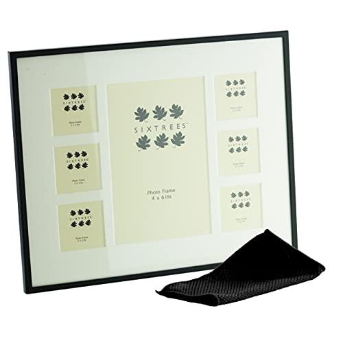 Sixtrees Park Lane 2-853-7C - Cornice portafoto con sette aperture con supporto, completa di panno in microfibra, colore: Nero