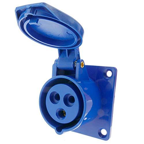 BeMatik - Base de enchufe industrial CETAC hembra 2P+T 16A 250V IP44 IEC-60309 para empotrar
