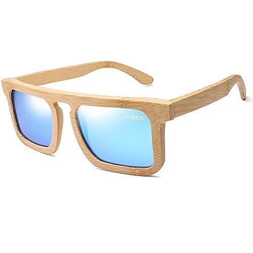 Lzpzz Cuadrados de Madera Hechos a Mano Las Gafas de Sol polarizadas rectangulares Estilo clásico for Hombres y Mujeres (Color : Blue)