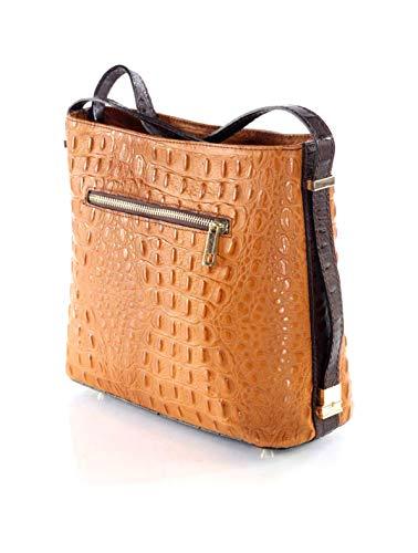 AVANTI Moda Women's Leather Handbag, Luana 5723 (Saddle Brown)