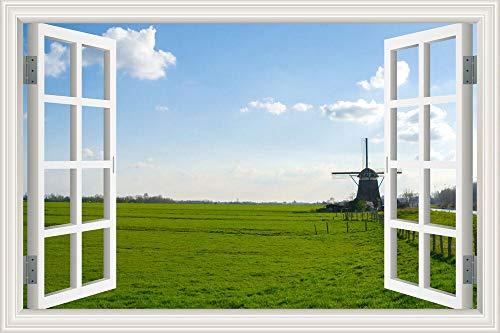 Calcomanía de arte Molinos de viento holandeses Turbinas de viento paisaje hermoso paisaje Cartel de ventana de PVC Papel tapiz Etiqueta de la pared Mural Habitación de niños dormitorio Deco
