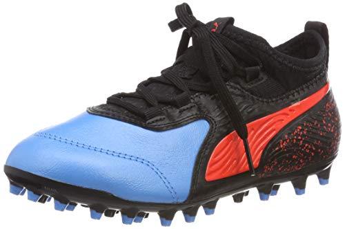 Puma ONE 19.3 MG JR, Unisex-Kinder Fußballschuhe, Blau (BLEU Azur-RED Blast-PUMA Black 01), 38 EU (5 UK)