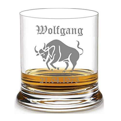 Whiskyglas mit Name graviert - personalisierter Whisky Tumbler - mit individueller Wunsch-Gravur als Geschenk Sternzeichen