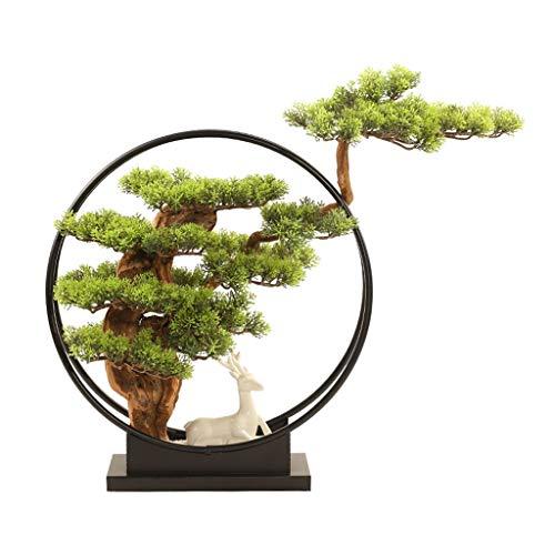 NYKK Bonsai Artificial Cedar China Ciervos joyería de cerámica, Porche Oficina de la Sala de TV del gabinete Hierro Forjado Inicio Decoraciones, Artificial Bonsái Simulación Árbol bonsái Artificial