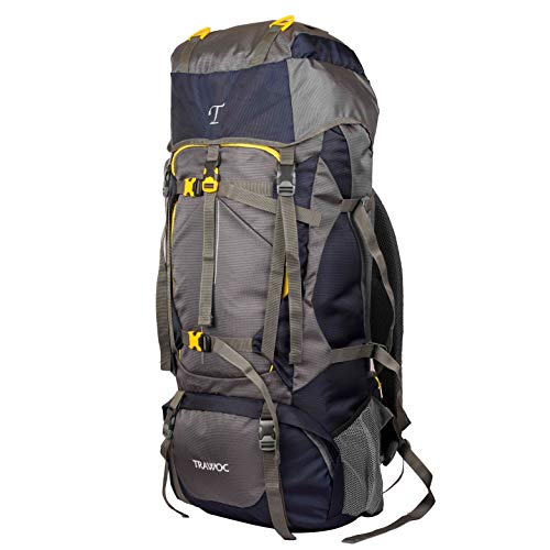 TRAWOC 60L Travel Backpack for Outdoor Sport Camp Hiking Trekking Bag Camping Rucksack HK006 (Grey) 1 Year Warranty