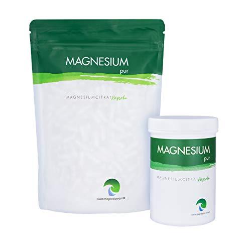 Magnesium Pur Kapseln Starterset Dose mit 250 Kapseln und Nachfüllbeutel mit 500 Kapseln hochdosiert, bioverfügbar, vegan