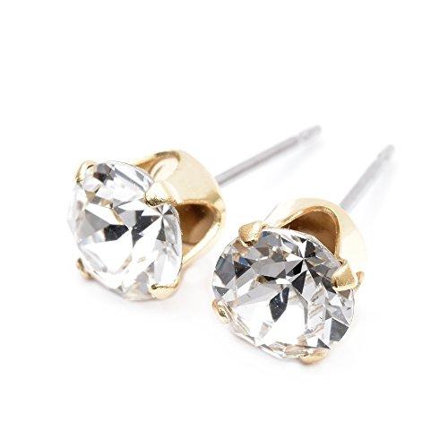 pewterhooter - Pendientes de tuerca chapados en oro fabricados por expertos con brillantes diamantes de cristal blanco de Swarovski.
