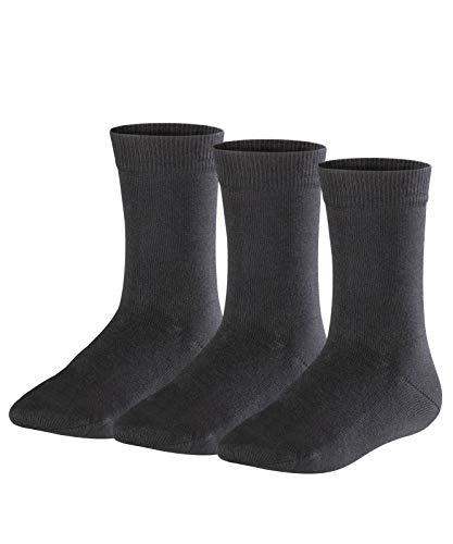 FALKE Kinder Socken Family 3-Pack - 94% Baumwolle, 3 Paar, Schwarz (Black 3000), Größe: 39-42