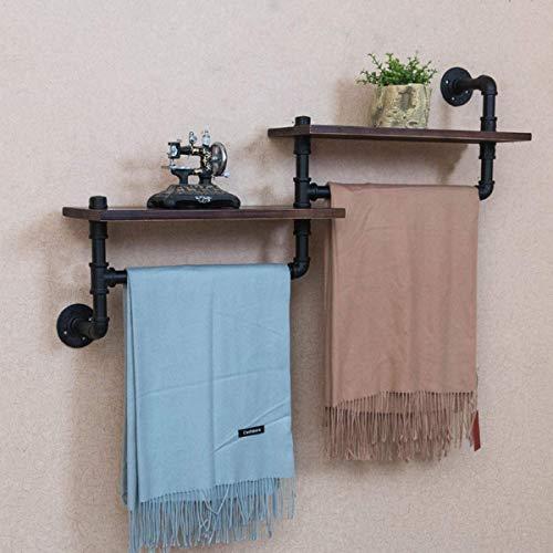Toalla estante Toalla Rack Multifunción de estilo retro de hierro monte de hierro montaje en la pared Toallero con estante de almacenamiento de madera Pasadora de baño, estante de pared de madera de e