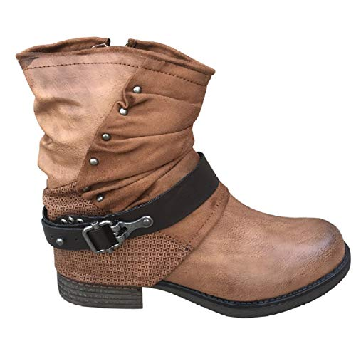 Damen Stiefeletten Biker Boots Nieten Stiefel Schuhe ST783 (Camel, 40)