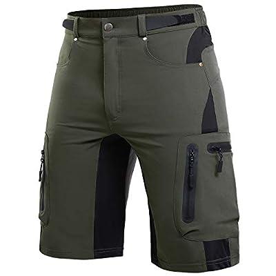 Cycorld-Men's-Outdoor-Hiking-Shorts-Mountain-Bike-MTB-Shorts-Mens Quick Dry Lightweight for Climbing Camping Army Green