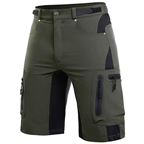 Cycorld Men's-Outdoor-Hiking-Shorts Quick Dry Lightweight Mountain Bike MTB Shorts for Climbing Camping(Army Green, X-Large)