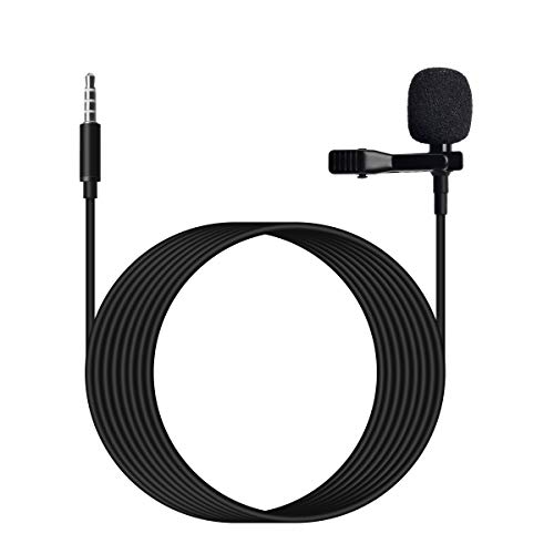 HYSHIKRA- Wired 3.5mm Lavalier Clip On Microphone - External Clip On Mic for Android iOS Smartphone Cellphone - Lapel Microphone for Live,YouTube, Vlogging, Interviews