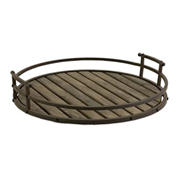Imax Vermont Iron and Wood Tray - Round Tray for Serving, Decorating - Large Rustic Storage Tray. Kitchen and Dining
