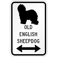 OLD ENGLISH SHEEPDOG マグネットサイン ホワイト:オールドイングリッシュシープドッグ(大) シルエットイラスト&矢印 英語標識デザイン.