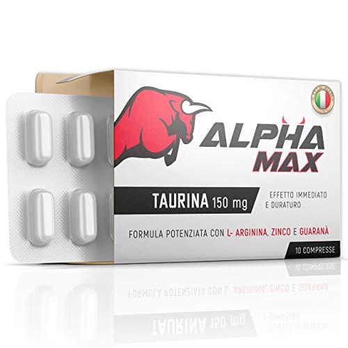 Alpha-Max | [10 COMPRESSE] | Extra-Concentrato Potente 150MG di Taurina | Made in Italy | Numero 1 in Europa | Prodotto Naturale