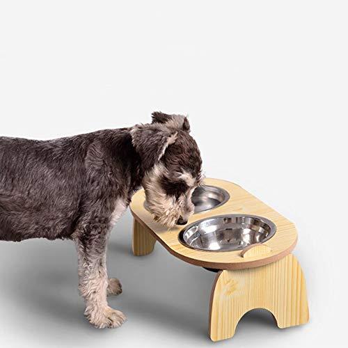 VKTY Gamelles surélevées amovibles pour chien et chat avec double gamelles en acier inoxydable et base en bois - Convient aux chiens de petite et moyenne taille et aux chats