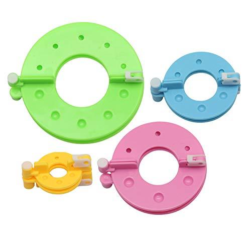 Glorex 5 2001 44 - Pompon Maker aus Kunststoff, Set mit 4 verschiedenen Größen, zum Erstellen von Bommeln