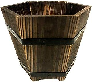 Wooden Pot Planter 20cm height 25cm diameter Indoor Outdoor garden decor
