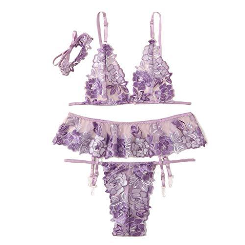 QIUMINGSS Neue Sexy Frauen Stickerei Spitze Dessous Underwear Tanga Strumpfband BH Choker Set Neue(Lila, XL)