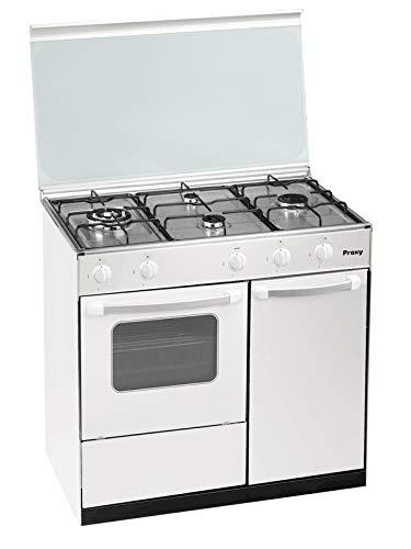 Cocina portabombona 90 cm de ancho con horno PROXY, color blanco, 4 fuegos (incluye 1 Triple Fuego) y horno con grill a gas (butano o natural).
