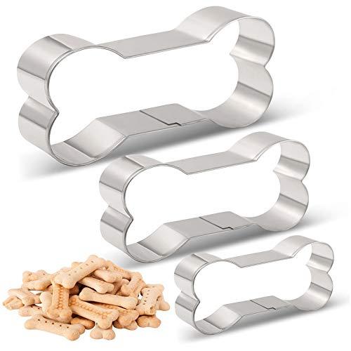 Keks-Ausstechformen in Hundeknochenform, aus Edelstahl, für hausgemachte Leckereien, Ausstecher Set - 3 Größen - groß / 13,7 cm, Medium / 11,7 cm, klein / 9,9 cm, von Amison
