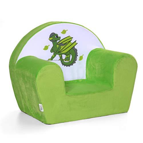 MuseHouse - Kindersessel aus Plusch mit Drachenmotiv. Kindersofa Märchenfigur. Kuschelig weicher Schaumstoff. Kinderstuhl zum Spielen. Farbenfroh mit Spielmotiv