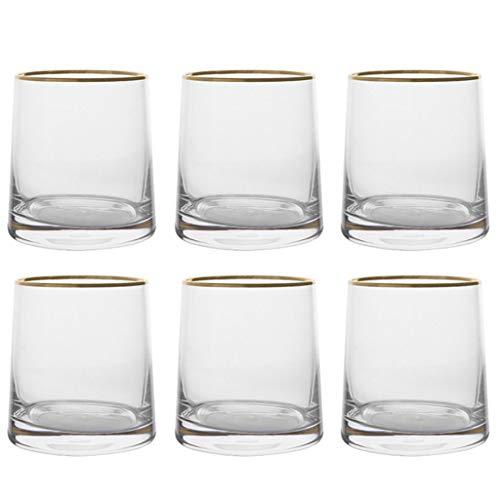 Verres Verre coloré verre à whisky tasse tasse à thé thé au lait boisson tasse à jus tasse en cristal (Color : Golden rim, Size : B)
