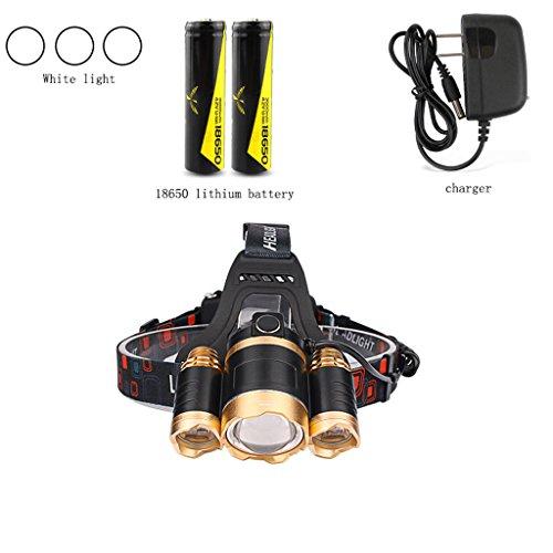 Lampes à led lampe rechargeable super lumineux jaune lumière chasseur étanche torche casque lampe mineur (lumière blanche)