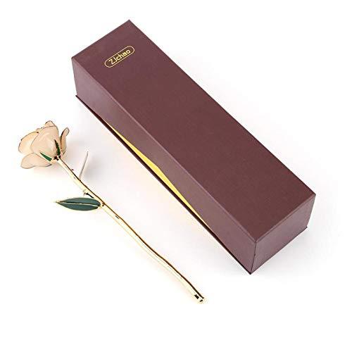 KUIDAMOS 24 Karat Gold getauchte Rose, 24 Karat Gold getauchte echte Rose Echte Rose 24 Karat vergoldete rote Rose Valentinstag Blumengeschenke für Sie