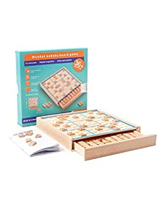 Symdiro Wooden Sudoku Board Game Montessori Toy Math Learning Board Puzzle Board Toy Mathematical Thinking Game with Drawer