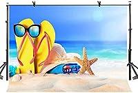 HD 7x5ftクリエイティブ広告の背景真夏の海辺の休暇の写真撮影の背景とスタジオの写真撮影の背景の小道具LYLX348