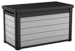 Keter Denali 100 Gallon Resin Large Deck Box for Patio Furniture Cushion Storage, Grey/Black