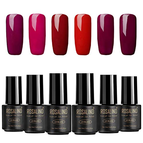 ROSALIND Esmalte de uñas semipermanente Gel Soak Off UV LED Barniz Manicura Pedicura Salon 6 botellas 7 ml
