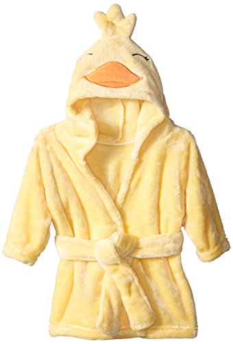 Hudson Baby Unisex Baby Plush Animal Face Robe  Duck  One Size  0-9 Months