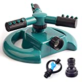 Kyerivs Outdoor Water Toys Sprinkler for Kids Garden Sprinklers for Yard Lawn Kids Outside, Automatic Irrigation System 360 Rotating Adjustable Large Areas(with 2 Sprinkler Heads)
