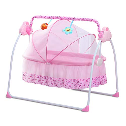Comfortable Electric Baby Cradle Bed, Baby Bouncer with Remote Control, 3 Gear Swing, Bluetooth Music, Timing Function, Portable Fold, Soft and Breathable, with Toys, for 0-18 Months Babies,Pink